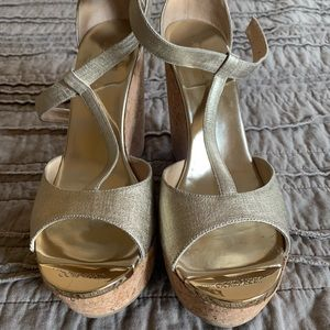 Jimmy Choo Gold Metallic Platform Wedge Sandal